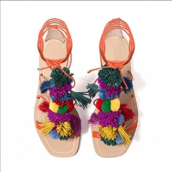 fbdc46ca2b2649 ZARA Woman Lace Up Pom Pom Colorful Sandals. M 5b988ca2a5d7c688419adbbc